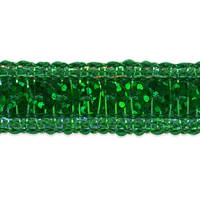 Single Row Starlight Hologram Sequin with Sparkle Edge Trim Green (Precut, 20 Yards)