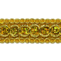 Trish Sequin Metallic Braid Trim Gold (Precut, 20 Yards)
