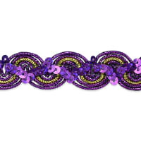 April Sequin Metallic Braid Trim Purple (Precut, 20 Yards)