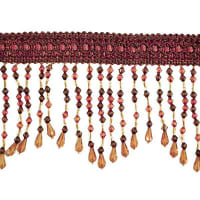 Kirsten Scalloped Bead Fringe Trim Brown Multi (Precut, 10 Yards)