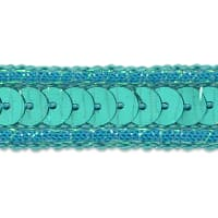 Zali Single Row Sequin with Sparkle Edge Trim Turquoise (Precut, 20 Yards)