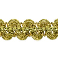 Eva Faux Rhinestone Metallic Braid Trim Gold (Precut, 20 Yards)