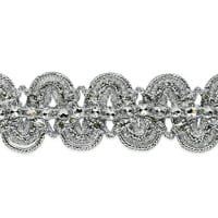 Eva Faux Rhinestone Metallic Braid Trim Silver (Precut, 20 Yards)
