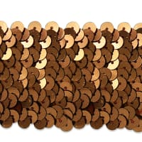 "5 Row 1 3/4"" Metallic Stretch Sequin Trim Brown (Precut, 10 Yards)"