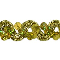 Reba Ric Rac Sequin Braid Trim Gold (Precut, 20 Yards)