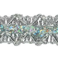 Sheba Diamond Sequin Braid Trim Silver (Precut, 20 Yards)