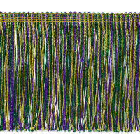 "6"" Metallic Chainette Fringe Trim Mardi Gras (Precut, 20 Yards)"