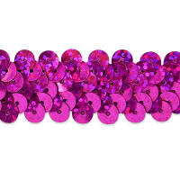 "2 Row 7/8"" Starlight Hologram Stretch Sequin Trim Magenta (Precut, 20 Yards)"
