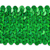 "5 Row 1 3/4"" Starlight Hologram Stretch Sequin Trim Green (Precut, 10 Yards)"