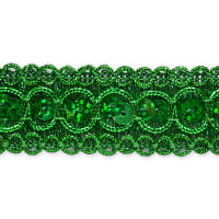 Trish Sequin Metallic Braid Trim Green (Precut, 20 Yards)