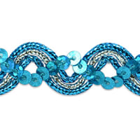 Karmen Sequin Metallic Braid Trim Turquoise/Silver (Precut, 20 Yards)