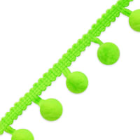 "3/8"" Pom Fringe Trim Neon Green (Precut, 20 Yards)"