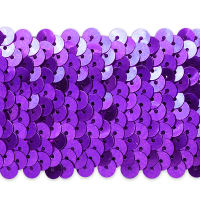 "5 Row 1 3/4"" Metallic Stretch Sequin Trim Purple (Precut, 10 Yards)"