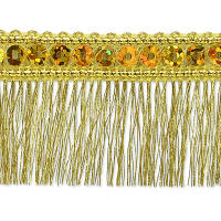 Esther Sequin Metallic Fringe Trim Gold (Precut, 10 Yards)