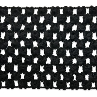 "2 3/4"" Crochet Stretch Trim Black (Precut, 20 Yards)"
