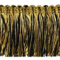 Chenille Fiber Brush Fringe Trim Black/ Gold (Precut, 20 Yards)