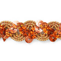 Oona Ric Rac Cord & Zig Zag Hologram Sequin Trim Orange (Precut, 20 Yards)