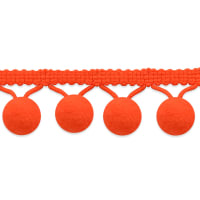 "5/8"" Lolita Pom Pom Fringe Trim Neon Orange (Precut, 20 Yards)"