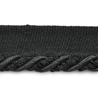 "Mariel 1/4"" Decorative Lip Cord Trim Black (Precut, 20 Yards)"