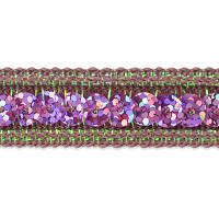 Single Row Starlight Hologram Sequin with Sparkle Edge Trim Pink (Precut, 20 Yards)