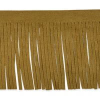 "Takoda 2 3/4"" Faux Suede Fringe Trim Brown (Precut, 10 Yards)"