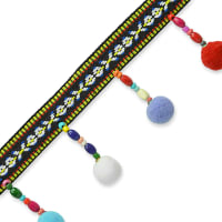 Kaspar Beaded Pom Pom Fringe Trim Multi Colors (Precut, 10 Yards)