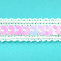 Zali Single Row Sequin with Sparkle Edge Trim White Aurora Borealis (Precut, 20 Yards)