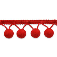 "5/8"" Lolita Pom Pom Fringe Trim Red (Precut, 20 Yards)"