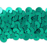 "3 Row 1 1/4"" Metallic Stretch Sequin Trim Teal (Precut, 20 Yards)"