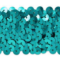 "4 Row 1 1/2"" Metallic Stretch Sequin Trim Aqua Blue (Precut, 10 Yards)"