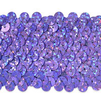 "5 Row 1 3/4"" Starlight Hologram Stretch Sequin Trim Lavender (Precut, 10 Yards)"