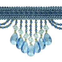 Isabella Scalloped Bead Fringe Trim Ocean Blue (Precut, 10 Yards)