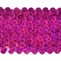 "5 Row 1 3/4"" Starlight Hologram Stretch Sequin Trim Magenta (Precut, 10 Yards)"