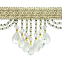 Isabella Scalloped Bead Fringe Trim Ivory (Precut, 10 Yards)