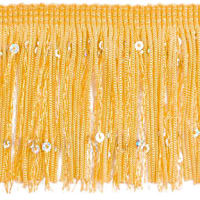 "3"" Starlight Hologram Sequin Chainette Fringe Trim Yellow Gold (Precut, 20 Yards)"