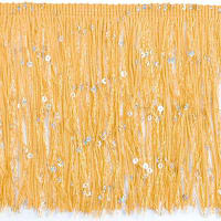 "6"" Starlight Hologram Sequin Chainette Fringe Trim Gold (Precut, 20 Yards)"