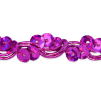 Alison Wavy Sequin Braid Trim Fuchsia (Precut, 20 Yards)