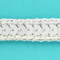 Zali Single Row Sequin with Sparkle Edge Trim Silver (Precut, 20 Yards)