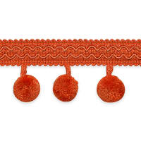 Classic Ball Fringe Trim Orange (Precut, 20 Yards)