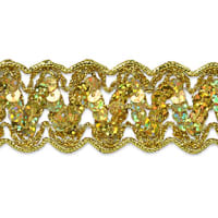 Nikki Sequin Metallic Braid Trim Gold (Precut, 20 Yards)