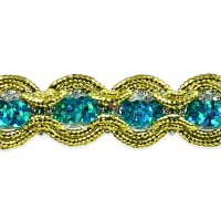 River Sequin and Cord Trim Aqua Blue (Precut, 20 Yards)