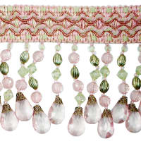 Sonya Scalloped Beaded Fringe Trim Mauve/ Green (Precut, 20 Yards)