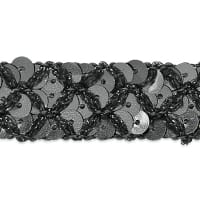 Sereia Sequin Trim Gunmetal (Precut, 20 Yards)