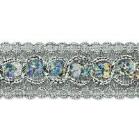 Trish Sequin Metallic Braid Trim Silver (Precut, 20 Yards)