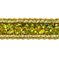 Single Row Starlight Hologram Sequin with Sparkle Edge Trim Gold (Precut, 20 Yards)
