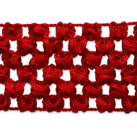 "1 3/4"" Crochet Stretch Trim Red (Precut, 20 Yards)"