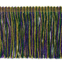 "4"" Metallic Chainette Fringe Trim Mardi Gras (Precut, 20 Yards)"