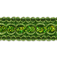 Trish Sequin Metallic Braid Trim Lime (Precut, 20 Yards)