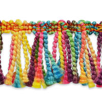 "Shanti 2"" Multi Color Fringe Trim Multi Colors (Precut, 10 Yards)"