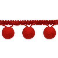 "1 1/2 "" Bonita Pom Pom Fringe Trim Red (Precut, 20 Yards)"